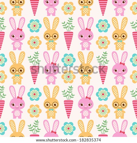 seamless rabbit cartoon background