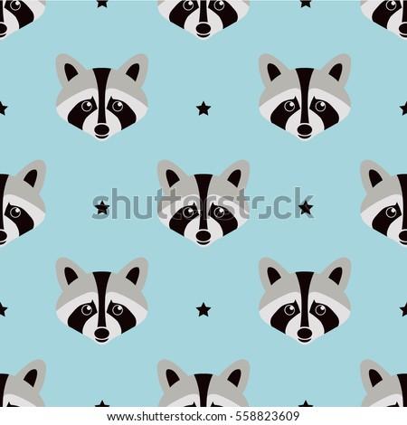 Seamless raccoon pattern in flat graphics. Raccoon vector Illustration.