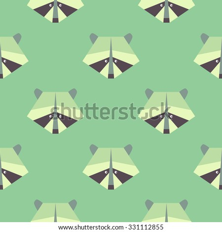 seamless raccoon pattern in