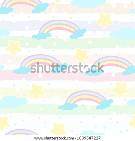 stock-vector-seamless-rainbow-and-clouds-pattern-vector-illustration
