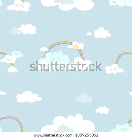 Seamless rainbow and smiling cloud with raining on blue sky background,Cute vector of clouds scape in rainy season with bright colour tone for kids fabric elements for new born baby boy or girl  stock photo