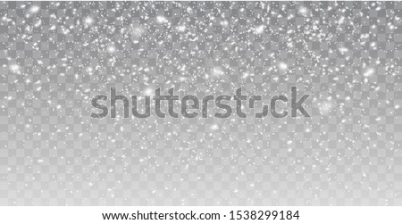 Seamless realistic falling snow or snowflakes. Isolated on transparent background - stock vector.