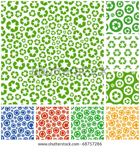 Seamless recycle background. Vector collection.