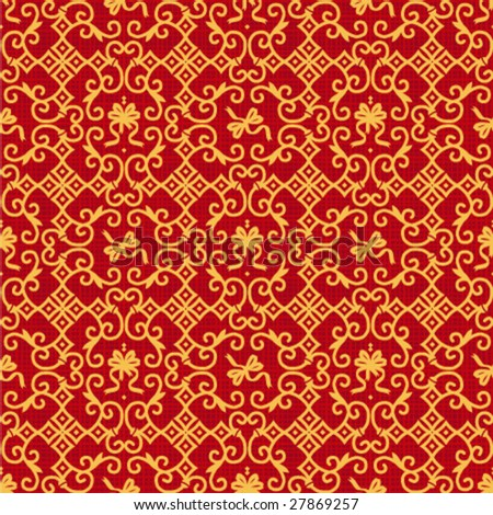 Red And Gold Damask Fabric Seamless Red And Gold Damask