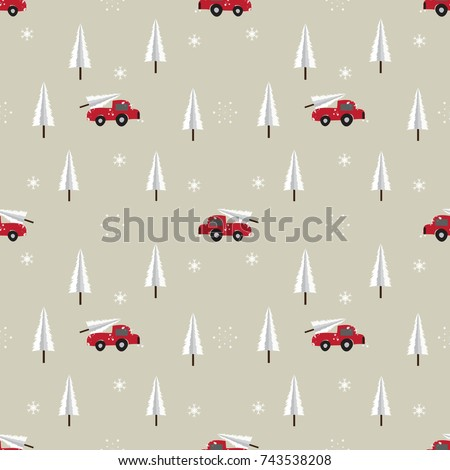 seamless red car with christmas