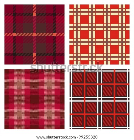 seamless red cells fabric pattern 4 variations - stock vector