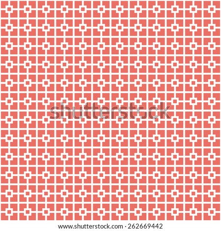 Seamless red classical architecture square pattern vector