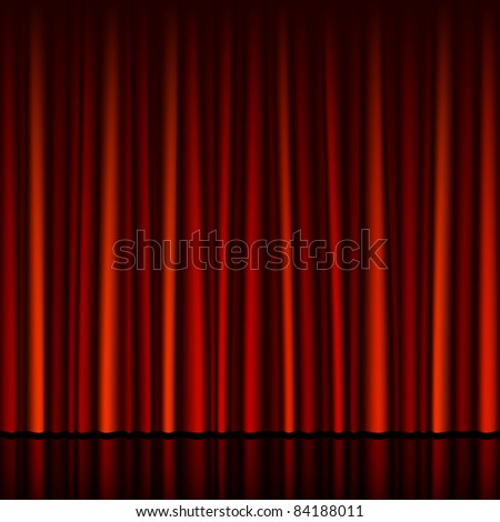 Seamless red curtain with stage. Vector.