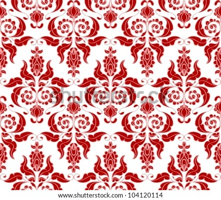 Seamless red floral background, beautiful vector illustration