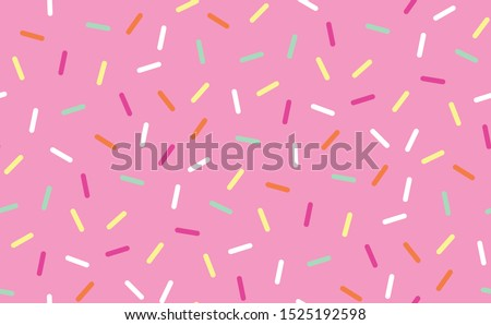 Seamless repeat background pattern of pink donut glaze with colorful sprinkles. Great decorative design for dessert, cake, pastry, ice cream, sweet food and related textured graphic design projects.