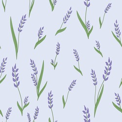 Seamless repeat floral Lavender sprig patter on pale lilac background.  Tile, wallpaper, fabric, surface pattern