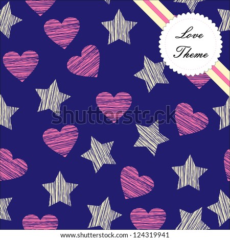 Seamless repeat pattern hearts and stars