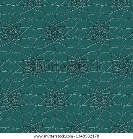 Seamless repeat pattern of an abstract, geometrical, elegant, chique flower. Overlapping shape of a leaf at a green background. Limited color palette of four shades of green. Large scale, flat vector. Foto stock ©