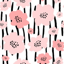Seamless repeat pattern with flowers in black and pastel pink on white background. Hand drawn fabric, gift wrap, wall art design.