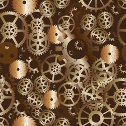 Seamless repeat vector pattern of steampunk gear wheels colored gradient brass on brown rust background.