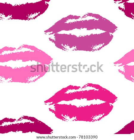 Seamless repeatable pattern of lip prints in pink