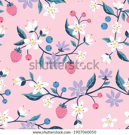 Seamless repeated surface vector pattern design with strawberries and blueberries and little white and purple flowers on branches on a pink background