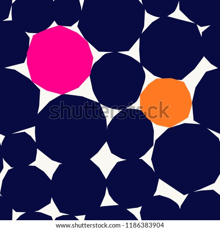 Seamless repeating pattern with abstract geometric shapes in navy blue, orange and pink on white background. Wall art, greeting card, textile, packaging design.