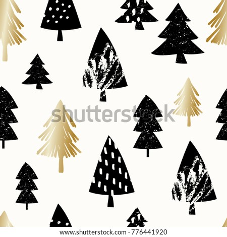 Seamless repeating pattern with Christmas trees in black and gold on white background. Stylish minimalist Christmas wallpaper, wrapping paper, wall art design.