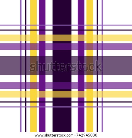 Seamless repeating plaid checkered background pattern in purple, yellow gold and black over a white background
