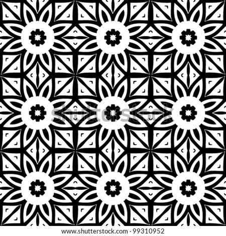 Seamless retro abstract ornamental black and white pattern background vector illustration