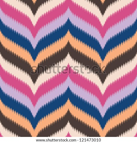Seamless retro background, curved and pointed chevron in ikat weave pattern