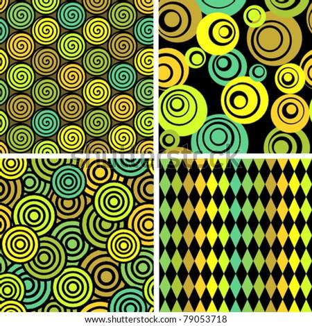 Seamless retro background - set of four patterns