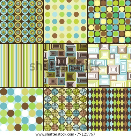 Seamless retro background - set of nine patterns