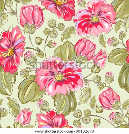 Seamless retro background with pink mallow