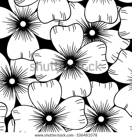 Seamless retro black and white ornamental pattern with flowers, vector illustration