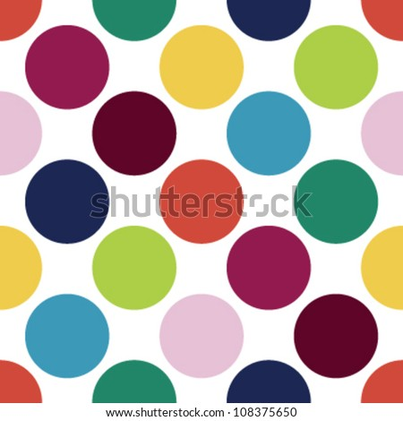 Seamless retro candy color inspired polka dot pattern