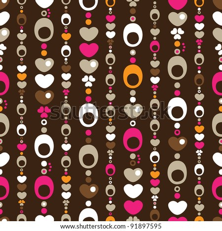 Seamless retro circle and heart pattern background in vector