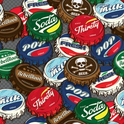 Seamless Retro / Classic Popular Bottle Caps Background Pattern in Vector