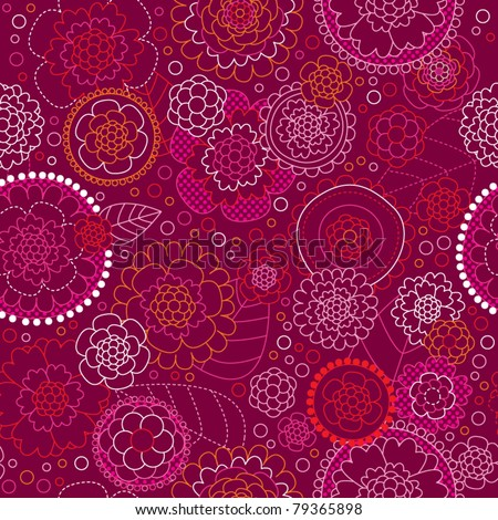 Seamless retro colorful flower pattern in vector