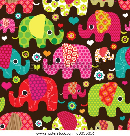 Seamless retro elephant kids pattern wallpaper background in vector