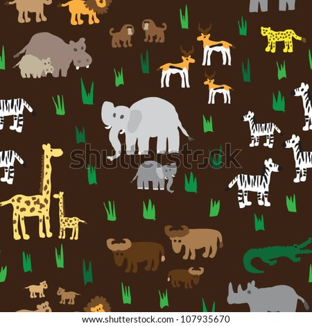 stock vector : Seamless retro fifties african zoo animals pattern