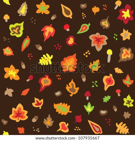 stock vector : Seamless retro fifties autumn leaves pattern