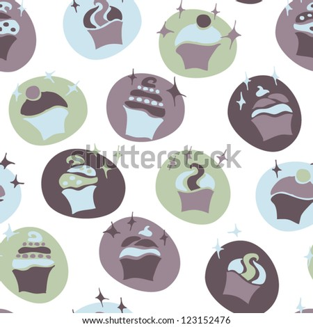 stock vector : seamless retro fifties blue baby boy cupcake pattern