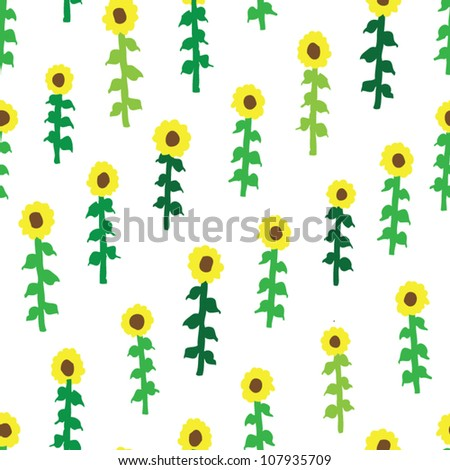 stock vector : seamless retro fifties sunflower field pattern