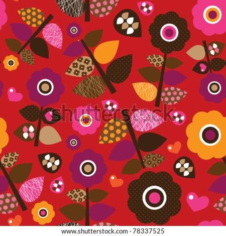Seamless retro flower leaf illustration pattern background in vector