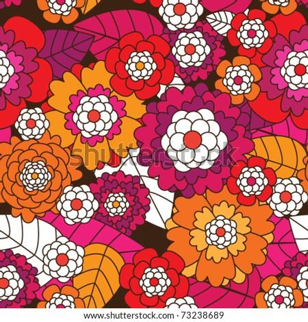 Seamless retro flower pattern background in vector
