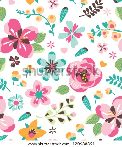 seamless retro flower vector
