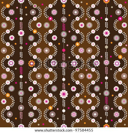 Seamless retro flower zigzag branch background pattern in vector
