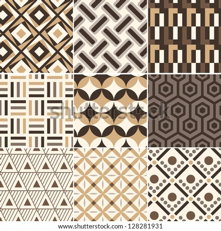 seamless retro gold geometric pattern