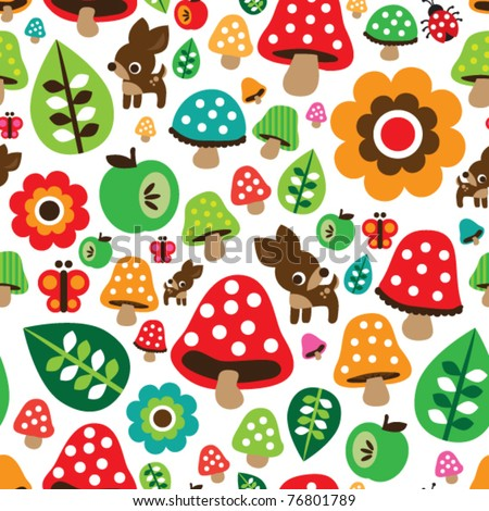 Seamless retro mushroom autumn deer pattern with apple illustration in vector