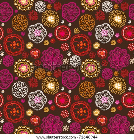 Seamless retro oriental flower pattern background in vector - stock vector