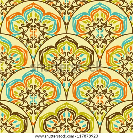 Seamless retro ornamental tiled pattern wallpaper