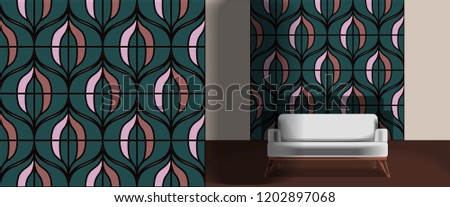 Seamless retro pattern in the style of the sixties. Art deco vintage wallpaper or fabric. Retro interior #1202897068