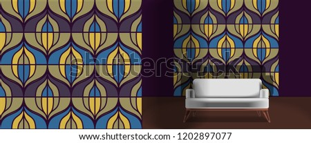 Seamless retro pattern in the style of the sixties. Art deco vintage wallpaper or fabric. Retro interior #1202897077