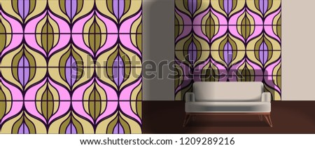 Seamless retro pattern in the style of the sixties. Art deco vintage wallpaper or fabric. Retro interior #1209289216